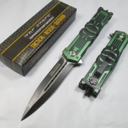 Tac Force Assisted Opening Rescue Punisher Skull Design Folding Stainless Steel Blade Knife Outdoor Survival Camping Hunting - Green