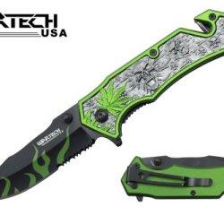 "Wartech 8"" Assisted Open Folding Tactical Pocket Knife Marijuana Leaf And Skull Design Neon Green Handle"