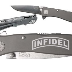 Banner Infidel Custom Engraved Sog Twitch Ii Twi-8 Assisted Folding Pocket Knife By Ndz Performance
