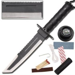 Jungle King Survival Master Tanto Blade Knife Black