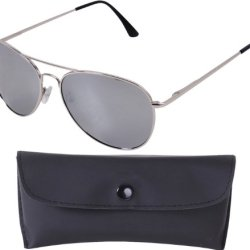 Chrome Frames & Mirror Lenses 58 Mm Polarized Sunglasses & Case