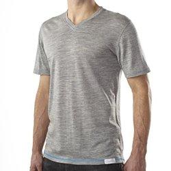 Woolly Clothing Co. Men'S Merino Wool Short Sleeve V-Neck T-Shirt Medium Grey With Blue Threading