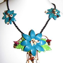 Flower Necklace - All Hand Worked Leather - Turquoise - Adjustable Size
