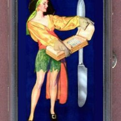 Pin Up Vintage With Knives Guitar Pick Or Pill Box Usa Made