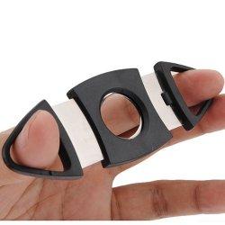 2Pcs Black Cigar Cutter Double Blades Knife Scissors A002