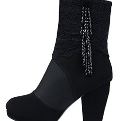 Guciheaven Women Winter New Style Macrame Lace Middle-Calf Boots(7.5 B(M)Us, Black)