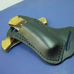 Black Buck 110 Right Hand Cross Draw Knife Sheath. The Sheath Is Made Out Of 8 Oz. Leather Made To Wear On The Left Side And Drown On The Right Hand.