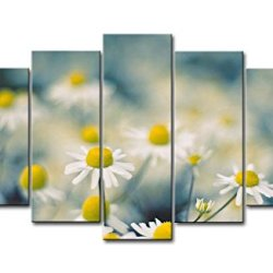 5 Piece Wall Art Painting Chamomille With Yellow Stamen Pictures Prints On Canvas Flower The Picture Decor Oil For Home Modern Decoration Print For Kids Room
