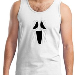 Spooky Ghost Face Tank Top Xl White