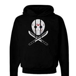 Scary Mask With Machete - Halloween Dark Hoodie Sweatshirt - Black - Xl