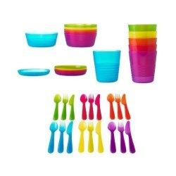 Ikea Kalas Bpa-Free 36-Piece Dinnerware Set, Assorted Colors