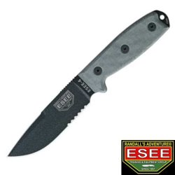 Esee Knives 4Scpmb Part Serrated Model 4 Fixed Blade Knife With Black Linen Micarta Handles