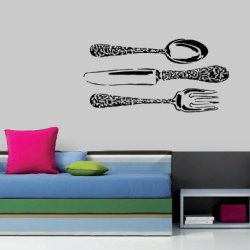 Wall Mural Vinyl Sticker Decal Spoon Knife Fork N570