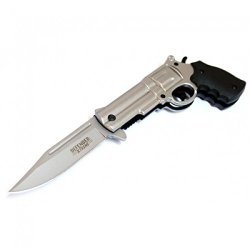 "New 8.5"" Metal Silver Blade Gun Spring Assisted Knife With Belt Clip"