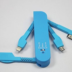 Lxtc Unique Swiss Army Knife 3 In1 Usb Data Sync Charger Cable 30Pin/8Pin/ Micro For Iphone 4 /4S/ 5/ 5S/ 5C/ Samsung S3/ S4/ Ipad 2/ 3/ 4/ Air (Blue)