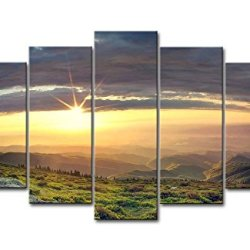 5 Piece Wall Art Painting Sunset In The Spring Mountains Rock Green Hills Grass Pictures Prints On Canvas Landscape The Picture Decor Oil For Home Modern Decoration Print For Bedroom