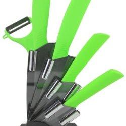 Melange 6-Piece Ceramic Knife Set With Peeler, Lime Green Handle And Black Blade