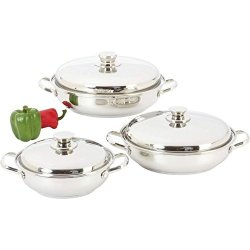 6 Pc Stainless Steel Saute Pans Skillet Frying Fry Pan Glass Lids Mirror Polish