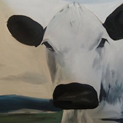 Fine Art Painting Superb Quality And Craftsmanship Print On Canvas Animal Painting Cow 16X21In Unframed