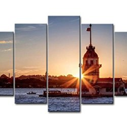 5 Piece Wall Art Painting Maiden'S Tower In Sunset Istanbul Pictures Prints On Canvas City The Picture Decor Oil For Home Modern Decoration Print For Bedroom