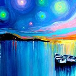 100% Oil Painting Unframed Colorful Sky With Two Boat Home Decoration Modern Knife Paintng On Canvas 36X16In/90X40Cm