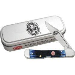 Case Cutlery 8035 Boy Scouts Of America Eagle Scout Mini Copper Lock In Gift Tin Peach Seed Jigged Blue Bone Handle