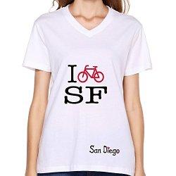 Goldfish Women'S Summer V-Neck San Diego T-Shirt White Us Size L