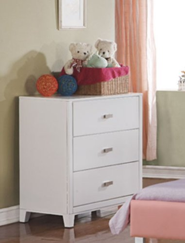 Image of Kids Dresser with Silver Handle in White Finish (VF_F4833)