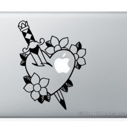 Heart Dagger And Daisies Macbook Laptop Apple Vinyl Decal Sticker Design Tattoo Floral Love Romance Traditional Knife Sword Piercing Pierced Flowers