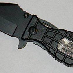 Black Air Force Grenade Knife Spring Assisted Hunting Tactical Folder Open Pocket Survival Knife 1065 Surgical Steel Blade