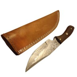 "Custom Made Damascus Steel Hunting Knife,With Walnut Wood8.25""Pt-1420"