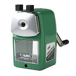 Carl Angel-5 Pencil Sharpener, Green, Quiet For Office, Home And School