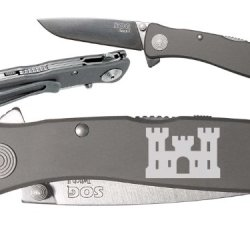 Army Corp. Of Engineers Custom Engraved Sog Twitch Ii Twi-8 Assisted Folding Pocket Knife By Ndz Performance