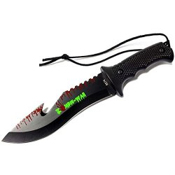 """New 9"""" Zombie-War Stainless Steel Hunting Knife With Black Handle Fish Hook Blade 8274"""