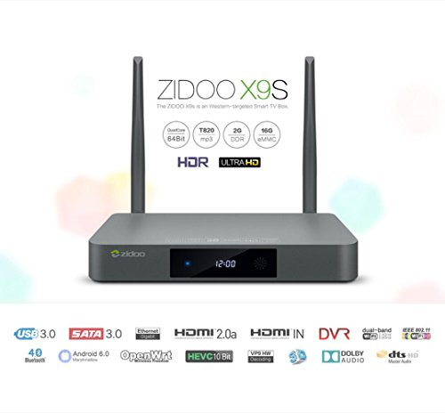Android Box TV Zidoo X9S Android 6.0 OpenWRT(NAS) Quad Core 2G/16G Dual Band WIFI 1000Mbps LAN HDR USB3.0 ingresso HDMI Registratore SATA 3.0 Lettore Multimediale con Bluetooth