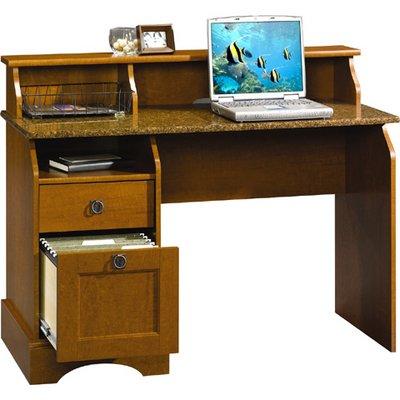 Picture of Comfortable Sauder Graham Hill Computer Desk (Autumn Maple/Sunset Granite) (B003722JKW) (Computer Desks)