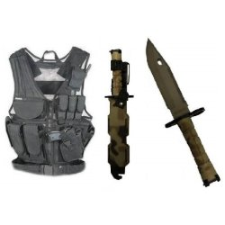 Ultimate Arms Gear Stealth Black Lightweight Edition Tactical Scenario Military-Hunting Assault Vest W/ Right Handed Quick Draw Pistol Holster + British Multi Terrain Camo Camouflage Handle Stainless Steel M9 M-9 Military Survival Blade Bayonet Knife With