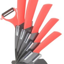 Melange 7-Piece Ceramic Orange Handle Black Blade Knife Set With 5-Inch Slicer And Peeler