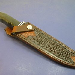 Custom Leather Knife Sheath For Buck 120 Knife Tooled & Dyed Brown. Sheath Only!