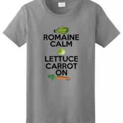 Romaine Calm Lettuce Carrot On Vegetarian Humor Ladies T-Shirt Large Sport Grey