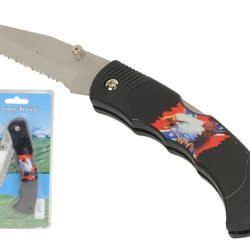 """Wild Animals Ramboo Hunting Knife Series - 3"""" Blade """"Confederate Eagle Theme"""" Pocket Knife With Clip"""