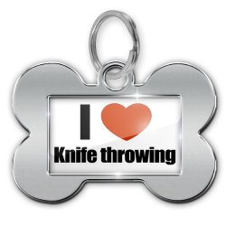 """Dog Bone Pet Id Tag """"I Love Knife Throwing"""" - Neonblond"""