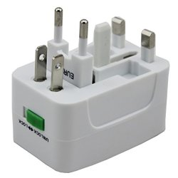 Otravel All In One Universal Worldwide Travel Wall Charger Ac Power Au Uk Us Eu Plug Adapter (White)