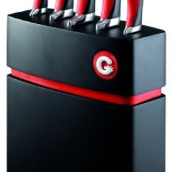 Richardson Sheffield 5-Piece Gripi Knife Set With Wood Block, Red
