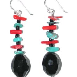 Handmade Sterling Silver Red Coral, Turquoise And Black Onyx Faceted Bead Earrings