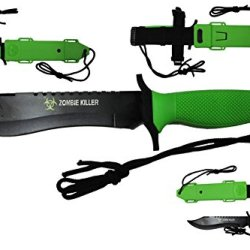 """Kc-022Gn Zombie Killer Fix Blade Hunting Knife 12Dywjh8Y Green Lu4Vty Handle 12"""" Overall Ayeuiu56 Hlbv23Rt Zombie Killer. Fix Blade Hunting Knife. All Black Saw Back Glrqum 440 Stainless Steel Blade. Heavy Duty Thyxb5Hb Knife 12"""" Overall With Green Out Do"""