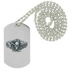 Military Emblem Dog Tag W/ Metal Chain Necklace - Bikes, Bones, & Pirate Pins - Winged Skull W/ Knife Pin
