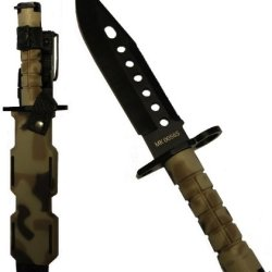 Ultimate Arms Gear Tactical Limited Edition British Multi Terrain Camo Camouflage Lightweight Cut Stealth Black M9 M-9 Military Survival Blade Bayonet Knife With Tactical Sheath Scabbard
