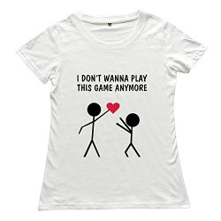Goldfish Women'S Classic Ring Spun Cotton Love Game T-Shirt White Us Size M