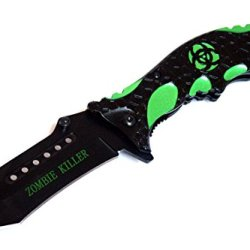 "8"" Zombie Killer Black & Green Spring Assisted Knife With Belt Clip"